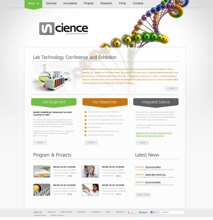Profesional Science Flash CMS Template