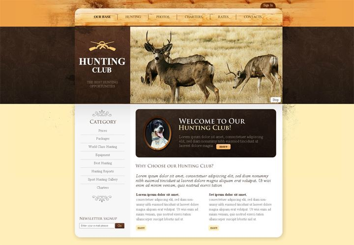Hunting Club Flash CMS Template