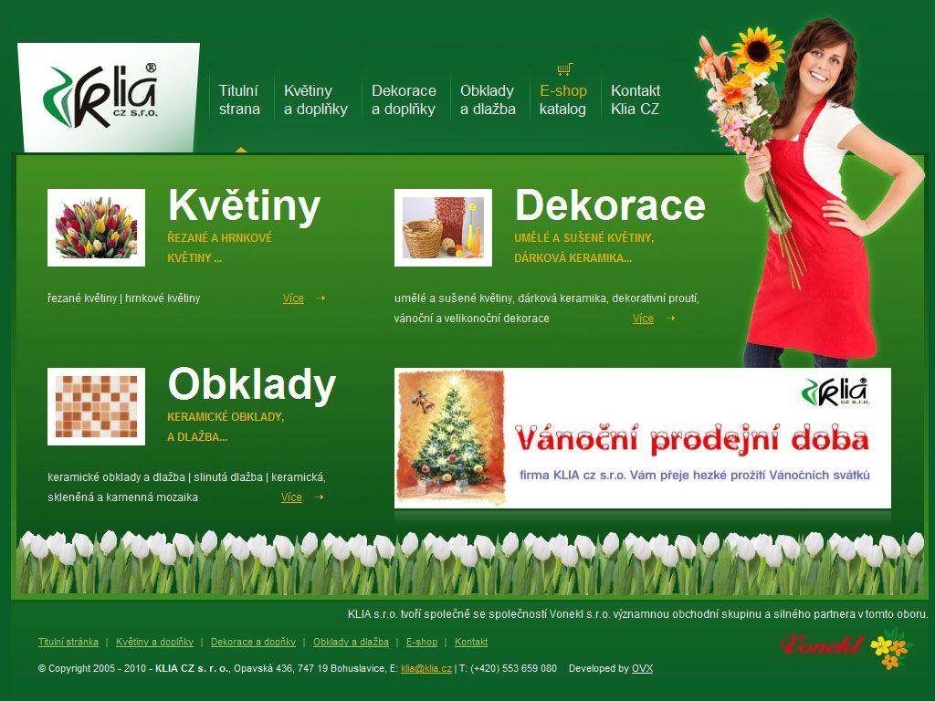 Květiny, dekorace, obklady | KLIA cz