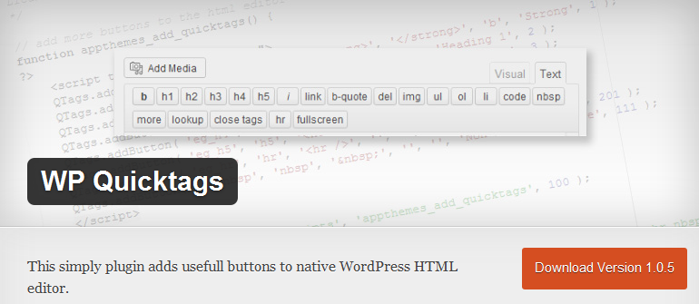WP Quicktags - Expand Your WordPress HTML editor