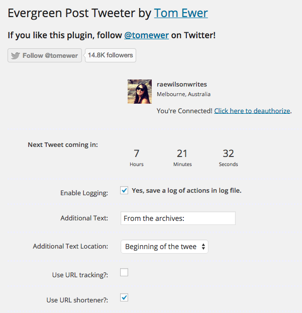 Evergreen Post Tweeter Plugin