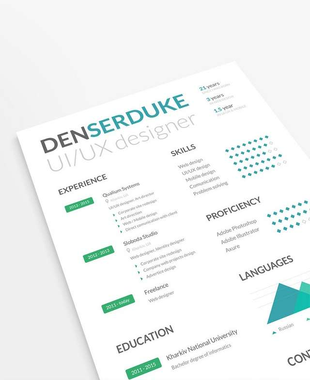 10 creative resume free psd templates phire base v 7