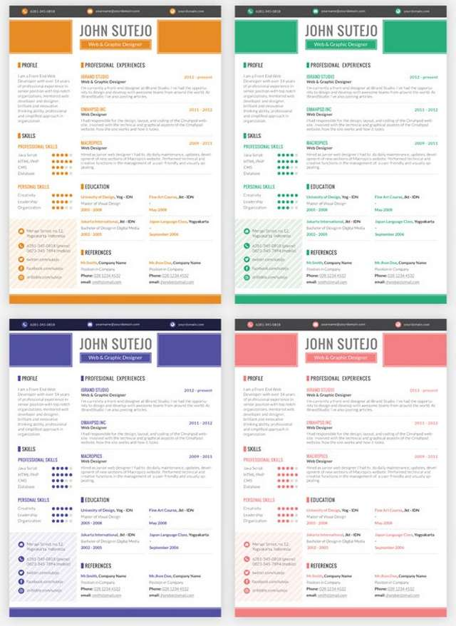 Freebie: Octama Resume Template – 5 Colors (PSD)