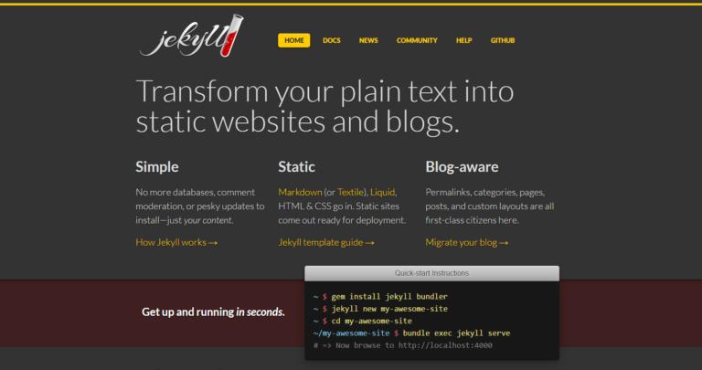 Jekyll – Simple, blog-aware, static sites