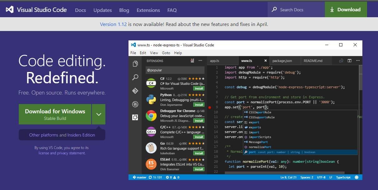 Visual Studio Code - lightweight powerful source code editor