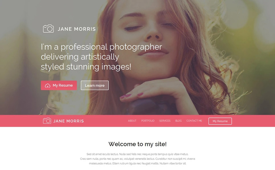 Jane Moris - Photographer Portfolio Free WordPress Template