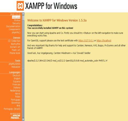XAMPP – Apache 2, PHP 5, MySQL 5