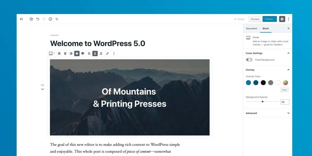 The new Gutenberg WordPress Editor