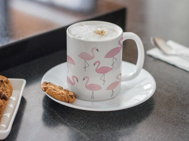 Coffee Mug Mockup with Chocolate Chip Cookies by Placeit
