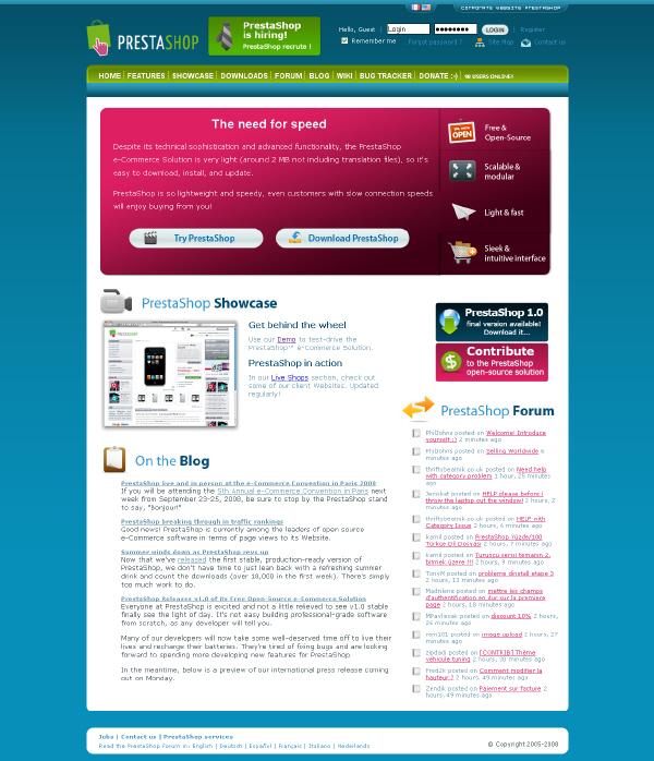 Publishing systems – PrestaShop 1.2